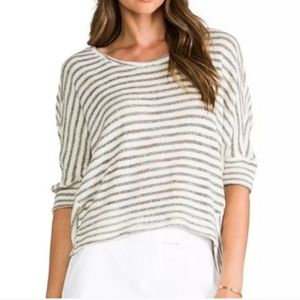 Sanctuary Ivory Gray Striped Swearer